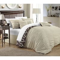 Chic Home Lester Beige Pleated Ruffled 11-piece Bed in a Bag with Sheet Set