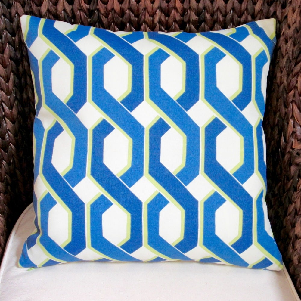 Shop Artisan Pillows Indoor/Outdoor 18-inch Blue and Green Modern Geometric Throw Pillow (Set of 2) - 10353504