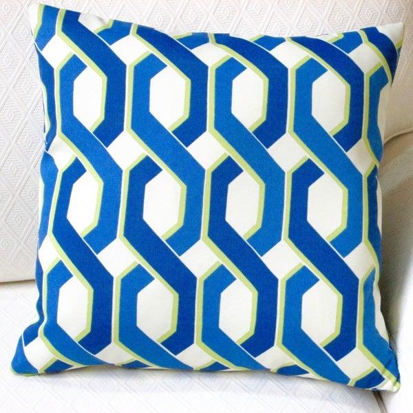 Artisan Pillows Indoor/Outdoor 18-inch Blue and Green Modern Geometric Throw Pillow (Set of 2)