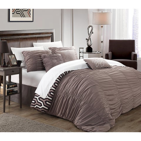 Chic Home Lester Brown Pleated Ruffled 11-piece Bed in a Bag with Sheet Set