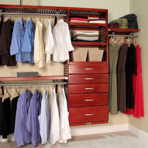 John Louis 5-drawer Red Mahogany Deluxe Closet Organizer