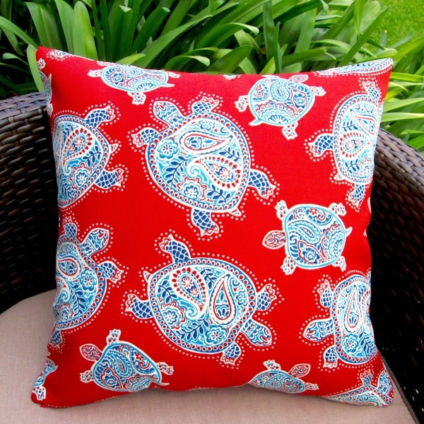 Artisan pillows outdoor 18 inch kids red sea turtles throw for Kids outdoor fabric