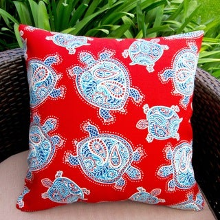 Artisan Pillows Outdoor 18-inch Tommy Bahama Fabric Kids Red Sea Turtles Throw Pillow (Set of 2)