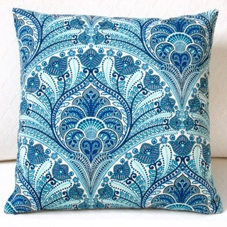Artisan Pillows Outdoor 18-inch Tommy Bahama Fabric Blue Beach Riptide Modern Geometric Coastal Throw Pillow (Set of 2)
