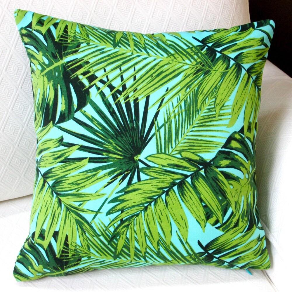 Shop Artisan Pillows Indoor/Outdoor 18-inch Tropical Fronds in Blue Modern Coastal Beach Hawaiian Throw Pillow (Set of 2) - Overstock - 10353511