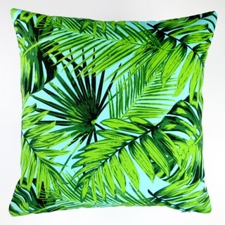 Artisan Pillows Indoor/Outdoor 18-inch Tropical Fronds in Blue Modern Coastal Beach Hawaiian Throw Pillow (Set of 2)