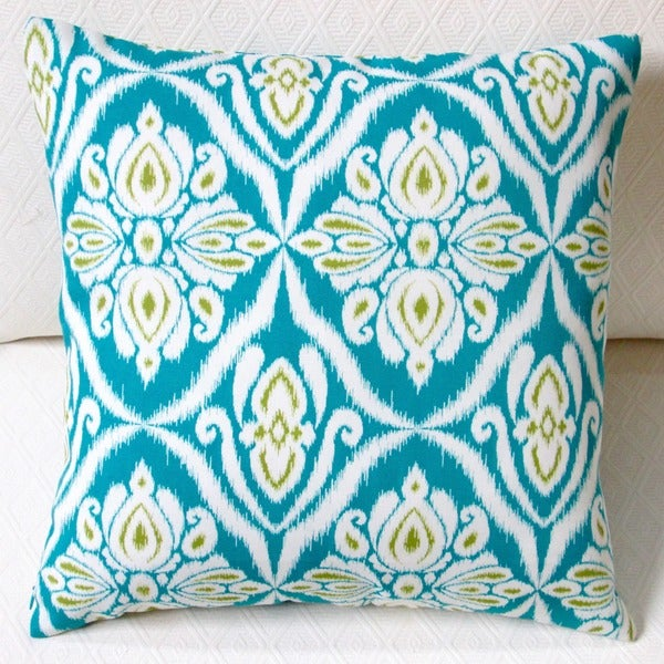 Modern Blue Outdoor Pillows : Artisan Pillows Indoor/Outdoor 18-inch Peacock in Blue Modern Geometric Abstract Throw Pillow ...