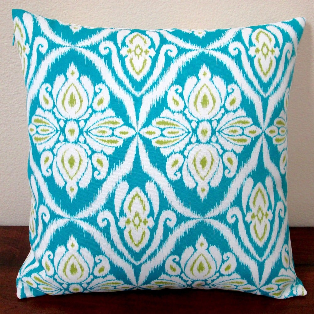 Shop Artisan Pillows Indoor/Outdoor 18-inch Peacock in Blue Modern Geometric Abstract Throw Pillow (Set of 2) - Overstock - 10353513