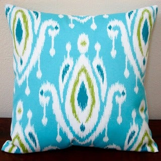 Artisan Pillows Indoor/ Outdoor 18-inch Peacock Turquoise Blue/ Green Modern Geometric Abstract Ikat Throw Pillow (Set of 2)