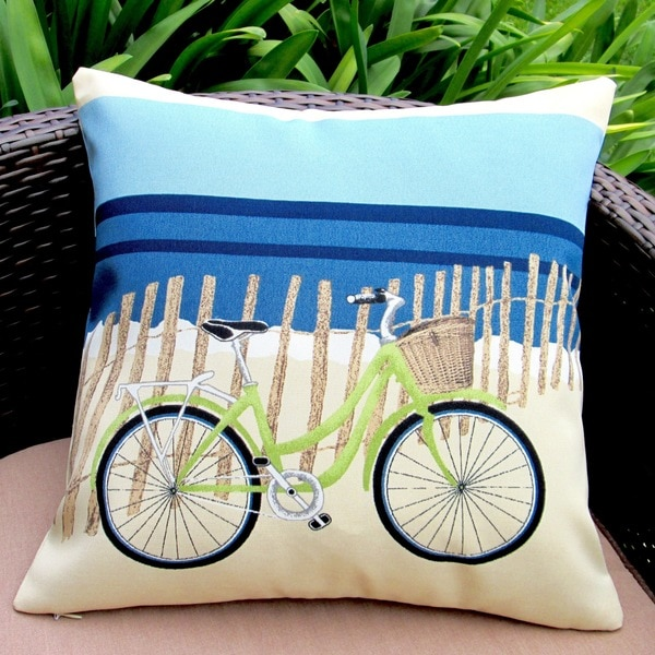 Artisan Pillows Indoor/Outdoor 18-inch Beach Bike Blue Modern Coastal Decor Beach House Throw ...