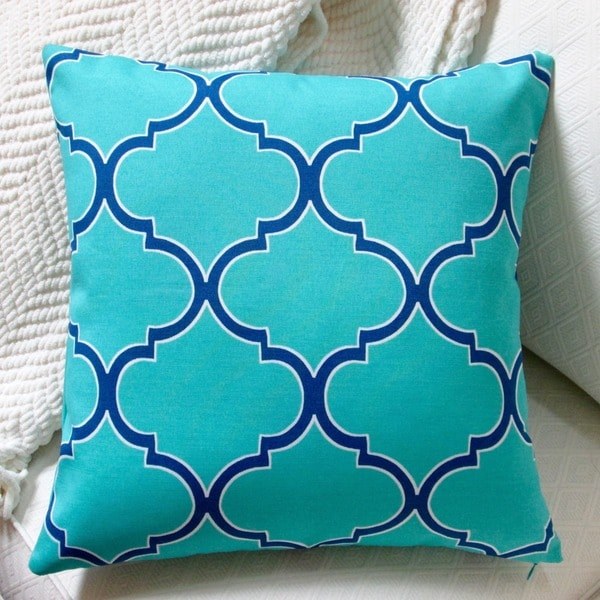 Artisan Pillows Indoor/Outdoor 18-inch Turquoise Modern Coastal Blue/Green Geometric Throw ...