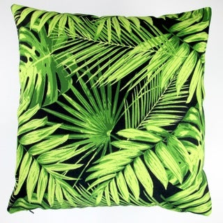 Artisan Pillows Indoor/Outdoor 18-inch Tropical Fronds in Black Modern Coastal Beach Hawaiian Throw Pillow Cover (Set of 2)