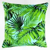 Artisan Pillows Indoor/Outdoor 18-inch Tropical Fronds in Blue Modern Coastal Beach Hawaiian Throw Pillow Cover (Set of 2)