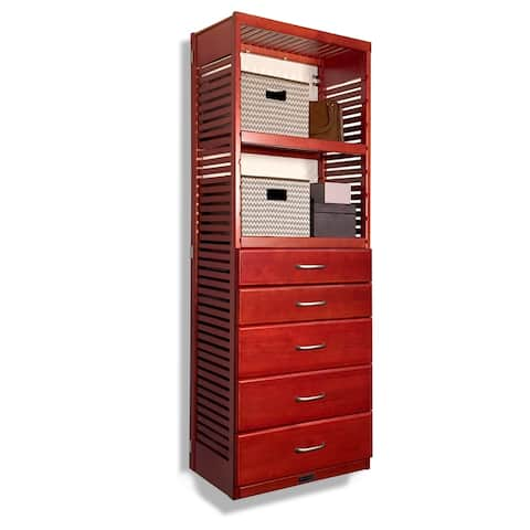 John Louis Home 16in. deep Solid Wood Deluxe 5 Drawer Storage Tower Red Mahogany