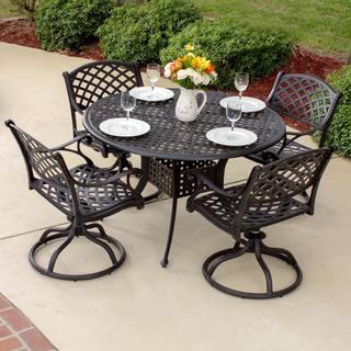 Heritage 4-Person Cast Aluminum Scroll Design Patio Dining Set