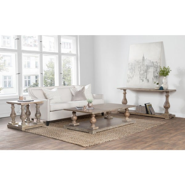 Wilson Antique White Coffee Table: Parvin Hand Crafted Wood Side Table By Kosas Home
