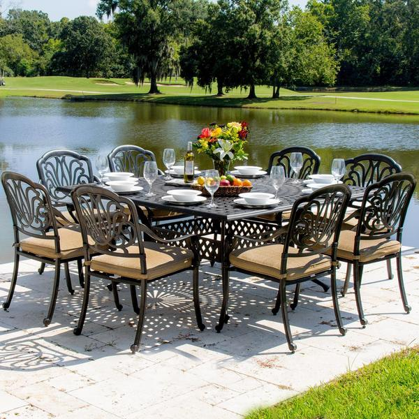 Rosedown 8 Person Cast Aluminum Patio Dining Set With Table