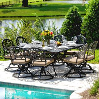 Rosedown 8-Person Cast Aluminum Patio Dining Set with Table and Swivel Rocking Chairs