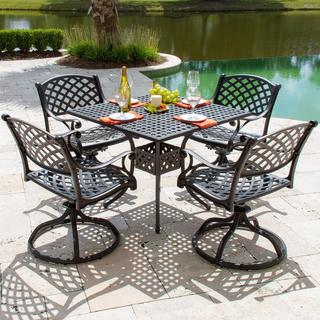 Heritage 4-Person Cast Aluminum Patio Dining Set with Swivel Rocking Chairs