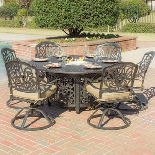 Rosedown 6-Person Cast Aluminum Patio Dining Set with Fire Pit Table