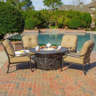 Rosedown 4-Person Cast Aluminum Patio Deep Seating Set with Fire Pit Table