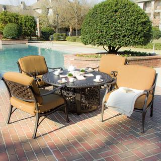 Heritage 4-Person Cast Aluminum Patio Deep Seating Set with Fire Pit Table