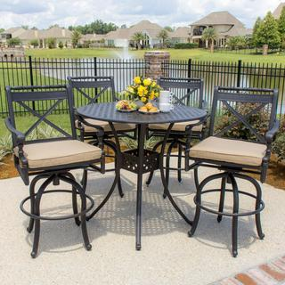 Carrolton 4-Person Cast Aluminum Patio Bar Set