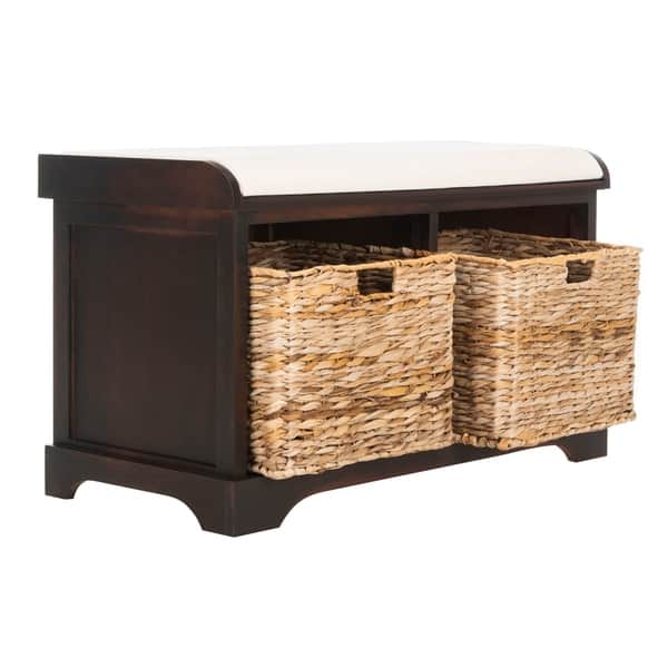Surprising Shop Safavieh Freddy Brown Woven Storage Basket Bench 33 5 Lamtechconsult Wood Chair Design Ideas Lamtechconsultcom
