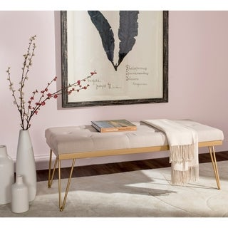 """Link to Safavieh Marcella Beige/ Gold Bench - 46.8"""" x 19.3"""" x 18"""" Similar Items in Living Room Furniture"""