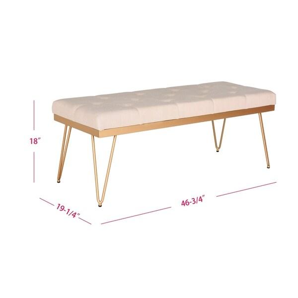 """SAFAVIEH Marcella Beige/ Gold Bench - 46.8"""" x 19.3"""" x 18"""""""
