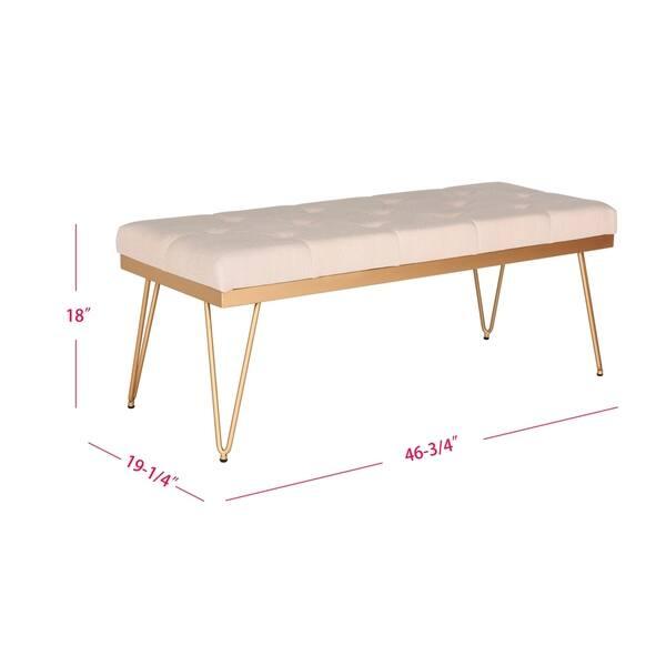 Safavieh Marcella Beige Gold Bench 46 8 X 19 3 18 Overstock 10353641
