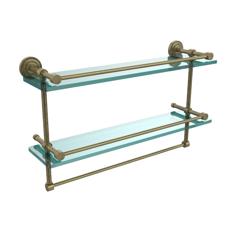 Allied Brass Dottingham 22-inch Gallery Double Glass Shelf With ...