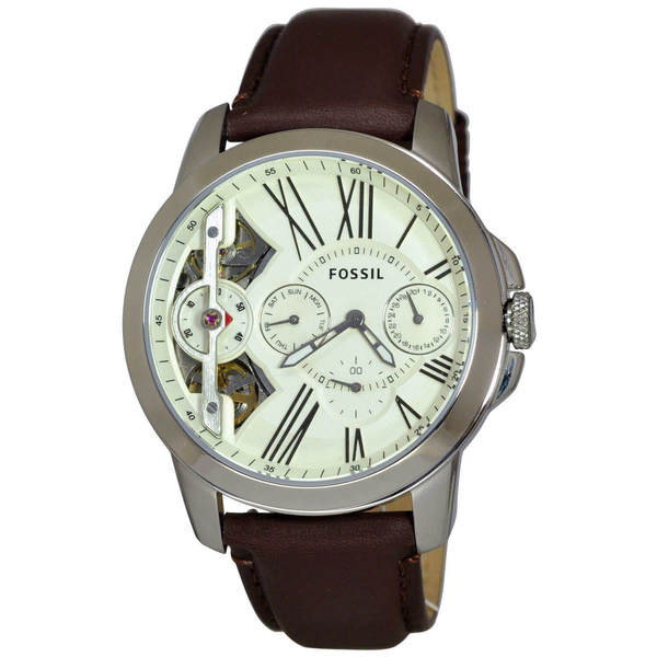 Fossil Men's Grant Twist Multifunction Off-White Dial Brown Leather Watch ME1144