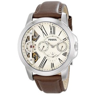 Fossil Men's Grant Twist Multifunction Off-White Dial Brown Leather Watch ME1144|https://ak1.ostkcdn.com/images/products/10353654/P17462342.jpg?impolicy=medium