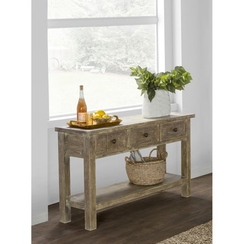 Rockie Reclaimed Pine 3 Drawer Console Table by Kosas Home