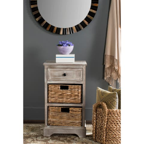 "Safavieh Carrie White Washed Side Storage Side Table - 15.9"" x 13"" x 27.6"""