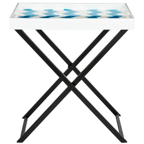Safavieh Abba Blue/ White Tray Table - 0