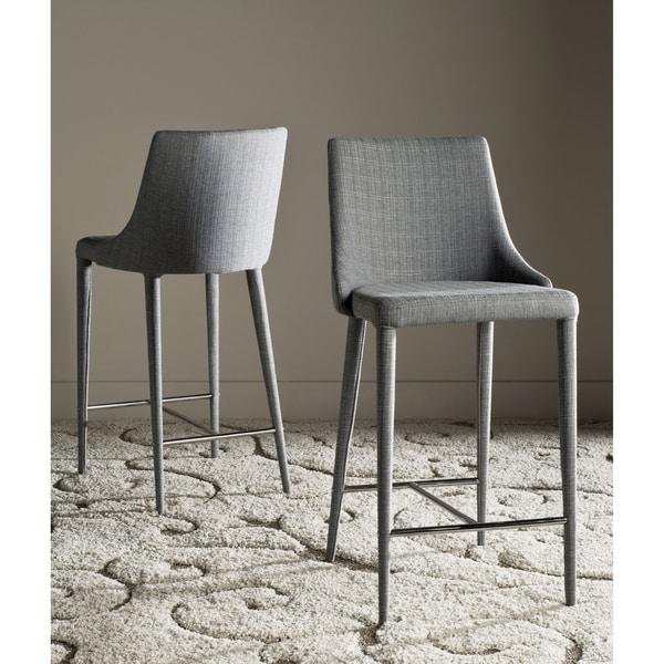 Safavieh 26 Inch Summerset Grey Linen Counter Stool Set
