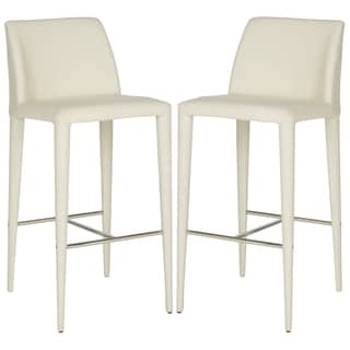 Safavieh Mid-Century 30-inch Garretson Beige Linen Bar Stool (Set of 2)