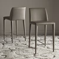 Safavieh Mid-Century 26-inch Garretson Taupe Counter Stool (Set of 2)
