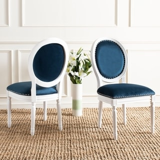 Safavieh Old World Dining Holloway Navy Velvet Oval Side Chairs (Set of 2)