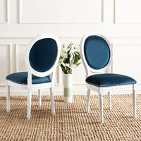Safavieh Old World Dining Holloway Navy Velvet Oval Dining Chairs (Set of 2)