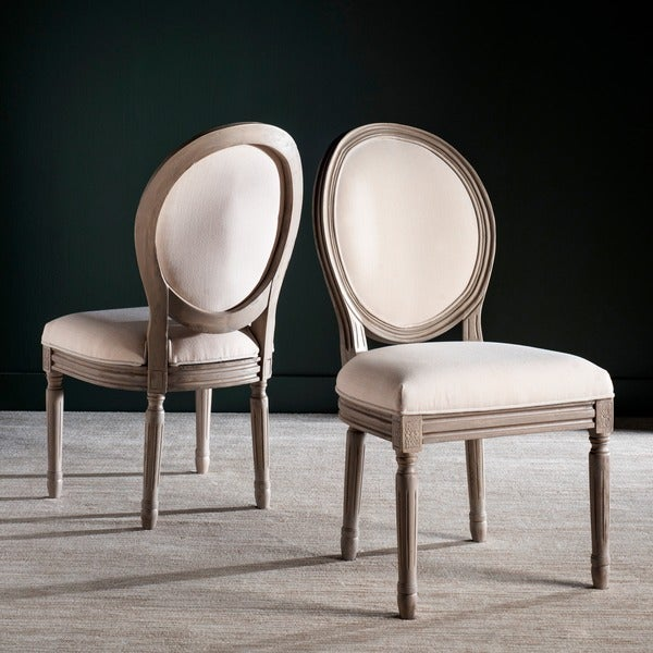 Safavieh Old World Dining Holloway Light Beige Oval Dining Chairs (Set Of 2)