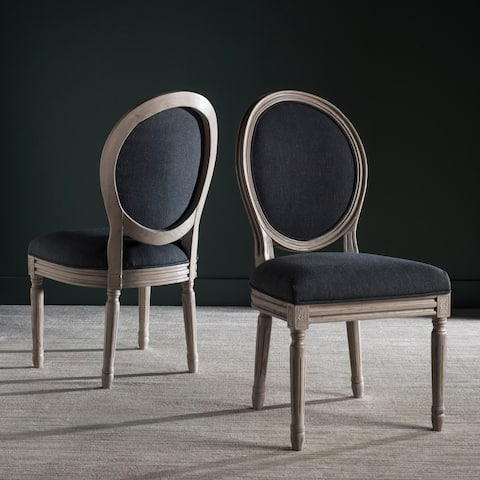 """Safavieh Dining Old World Holloway Charcoal Oval Dining Chairs (Set of 2) - 19.8"""" x 20"""" x 39"""""""