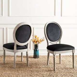 Safavieh Old World Dining Holloway Black Velvet Oval Dining Chairs (Set of 2)