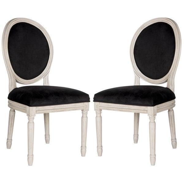 Bon Safavieh Old World Dining Holloway Black Velvet Oval Dining Chairs (Set Of  2)