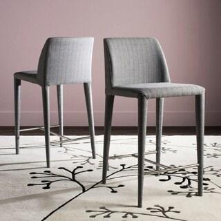 "Safavieh Mid-Century 26-inch Garretson Grey Linen Counter Stool (Set of 2) - 22.6"" x 17.4"" x 36.2"""