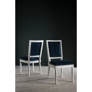 Safavieh Old World Dining Buchanan Navy Velvet Rect Side Chairs (Set of 2)