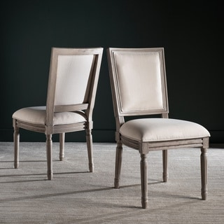 Safavieh Buchanan Light Beige Rect Dining Chair (Set of 2)