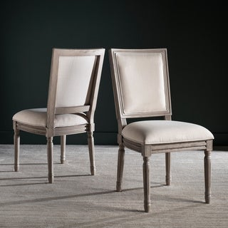 Safavieh Buchanan Light Beige Rect Side Chair (Set of 2)
